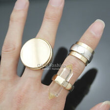 3Pcs Gold Clear Quartz Spike Bali Braided Gemstone Disc Flat Stack Band Ring W