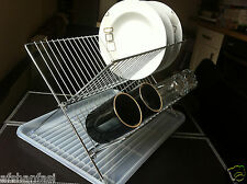 FOLDING PORTABLE STEEL DISH DRAINER RACK KITCHEN DRAINING TRAY CAMPING TRAVEL
