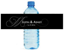 100 Black Monogram Wedding Anniversary Engagement Party Water Bottle labels