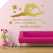 GYMNASTIC, girls gymnast Bedroom Quote, Vinyl Wall Art Sticker Decal, Mural