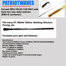 TWO (2 x) PATRIOTWAVES Harvest SRH-789 Telescoping Antenna SMA-F