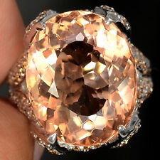 13.2 CT PEACH MORGANITE OVAL FACET SILVER 925 COCKTAIL RING SIZE 7.75