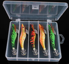 5 pcs of Fishing Lure Squid Jig Egi 3.5# for Squid with Portable Case
