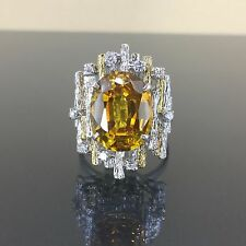 14k White gold Natural Diamond Vivid Yellow Sapphire Cocktail clusterr ing 11ctw