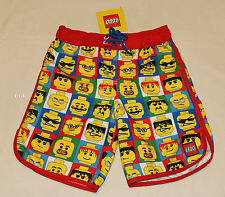 Lego Classic Minifigure Heads Boys Red Printed Board Shorts Size 5 New