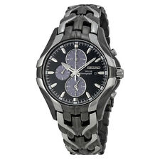 Seiko Solar Chronograph Black Dial Stainless Steel Mens Watch SSC139