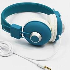 Children's Folding Portable Headphones Padded Wired Adjustable Headset - Blue