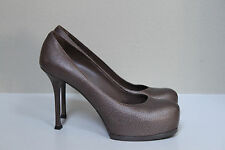 sz 9 / 39  YSL Yves Saint Laurent Tribute Brown Leather Platform Pump Shoes