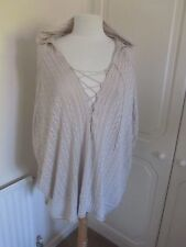 VGC BERGDORF GOODMAN BEIGE LACE KNIT OVERSIZED HOODED JUMPER SIZE XS/S