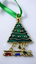Vintage Christmas Enamel Tree Ornament With Hanging Train Set Gold Tone