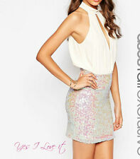 PARTY EVENING TALL Sequin Mini BRANDED Dress With Plunge Nude/Multi UK20 EU48 S3