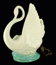 VINTAGE Maddox Of California TV  LAMP Light Swan blue & White Ceramic Planter