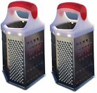 2 x Stainless Steel 6 Sided Grater Cheese Potatoes Carrots Fine Medium Coarse