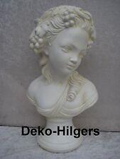 Büste Kopf Wein Figur Frau Stuckgips Skulptur Weintrauben Säule Statue Crem 2035