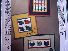 "Mini Quilt Wallhanging pattern applique CAT dog paperchain doll 8"" x 9"""