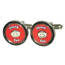 Red Thank You Smily Face Cufflinks With Gift Pouch Happy Child Teachers Gift New