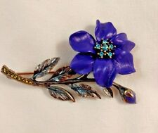 Joan Rivers Enameled Purple Long Stem Flower Aqua Crystals Pin Brooch Antiqued
