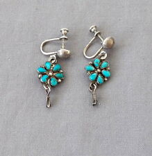 Petit Point Silver Turquoise  Cluster Squash Dangle Fred Harvey Era Earrings