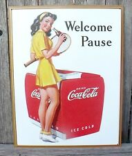 Coca Cola Sign Welcome Pause Classic Metal New Nostalgic 12 1/2 x 16