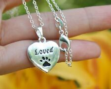.925 Sterling Silver NECKLACE Loved Pendant Paw Print Cat Dog Pet Memorial Gift