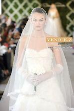 wv21 Soft Eyelash Lace Bridal Tulle Chapel Length Wedding Veil White Ivory