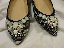 J.CREW COLLECTION GEMMA JEWELED FEATHER-PRINT FLATS 6 M NEW Rhinestone Ballet