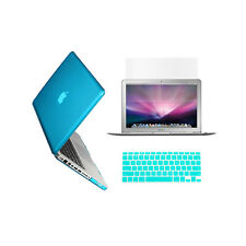 "3 in 1 Crystal AQUA BLUE Case for Macbook PRO 13"" + Key Cover +LCD Screen"