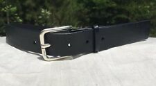 DKNY Women's Black Leather Belt - Size Medium With Silver Tone Buckle