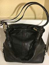 B MAKOWSKY Small Black Leather Brown Accent Bag Hobo Shoulder Silver Hardware