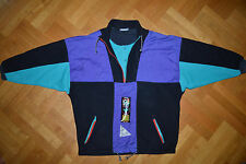 ADIDAS Original Track Suit Top Winter Fleece Jacket colorful Retro Vtg RARE L XL