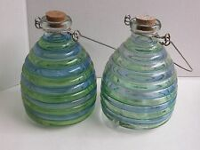 Green Blue Glass Bottle Beehive Bee Wasp Trap Catcher Wire Handle Cork Set of 2