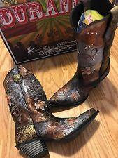 Durango Crush Flowered Metallic Cowgirl Western Boots RD3030 Women's 8.5 M