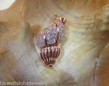 13MM 14K ROSE GOLD OVER STER SILVER HAWAIIAN TRITON'S TRUMPET SHELL CZ PENDANT