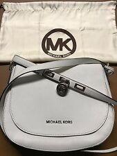 MICHAEL KORS Hamilton Large Optic White Messenger Bag Leather Purse 30S4SHMM3T