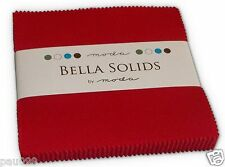 "Red Bella Solids Moda Charm Pack 42 100% Cotton 5"" Precut Fabric Quilt Squares"