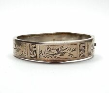 Antique Victorian B'Ham 1885 925 Silver Aesthetic Bird Bangle Bracelet 12.3g