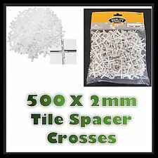 500 Tile Spacers 2mm Gap Floor Wall Tiling Grouting Cross Pack Kitchen Bathroom
