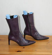 Purple Leather PIED A TERRE Mid Calf Zip Slim Mid Heel Riding Boots Size 3/36