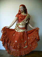 GYPSY BOLLYWOOD BELLYDANCE COSTUME, RED, GOLD COINS, CHOLI, EGYPTIAN HIP SCARVES