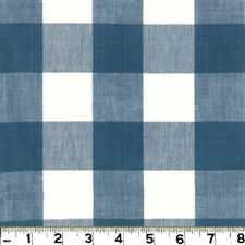 100% Cotton Check Roth & Tompkins Blue Upholstery Fabric Lyme CL French Blue