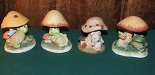 Porcelain Mushroom Figurines w/Frog~Mouse & Turtles~Different Brands~VERY CUTE