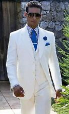 Beach Linen White Wedding Suits Casual Notched Lapel Groom Tuxedo Men Slim Fit