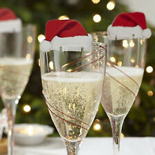 10X Christmas Decorations Hats Champagne Glass Decor Paperboard Place Name Cards