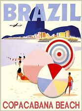 Brazil Rio de Janeiro Beach South America Vintage Travel Advertisement Poster