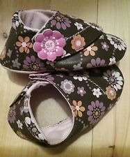 Stride Rite Crib Crawl Baby Girl Floral Brown Slip On Shoes 6 12 months Moccasin
