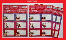 PAUL FRANK - Selbstklebe -Etiketten, Stickers Set, 3 Bögen zusammen 18 Etiketten