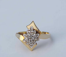Ladies Ribbon Spray Diamond Ring w/ 10 Genuine Diamonds  - 10K Yellow Gold