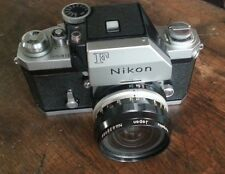 Vintage Nikon F Photomic 35mm SLR Camera Fan Silver Finder, Case & 2 Lenses