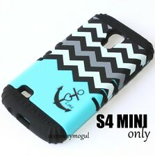 Samsung Galaxy S4 Mini i9190 - HARD & SOFT RUBBER HYBRID CASE BLUE BLACK CHEVRON
