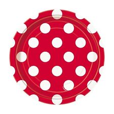 "8 Red White Polka Dot Spot Style Party Small 7"" Disposable Paper Plates"